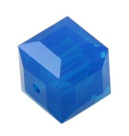4 PC 8mm Swarovski Cube : Caribbean Blue Opal