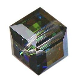 4 PC 8mm Swarovski Cube : Medium Vitrail