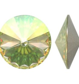 2 PC 14mm Swarovski Rivoli : Luminous Green Foil Back