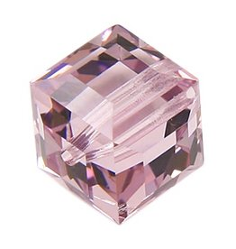 4 PC 6mm Swarovski Cube : Light Amethyst