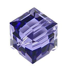 4 PC 6mm Swarovski Cube : Tanzanite