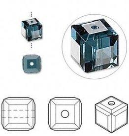 4 PC 6mm Swarovski Cube : Montana Blue
