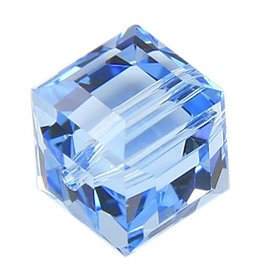 4 PC 6mm Swarovski Cube : Aquamarine