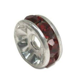 4 PC SP 6mm Rhinestone Rondell : Siam Ruby