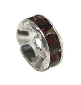 4 PC SP 6mm Rhinestone Rondell : Ruby