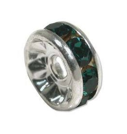 4 PC SP 6mm Rhinestone Rondell : Green Emerald