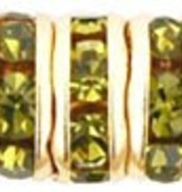 4 PC GP 6mm Rhinestone Rondell : Olivine
