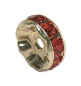 4 PC GP 6mm Rhinestone Rondell : Siam Ruby