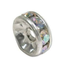 4 PC SP 8mm Rhinestone Rondell : Crystal AB