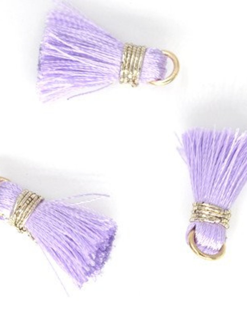10 PC 20mm Light Purple/Gold Tassel