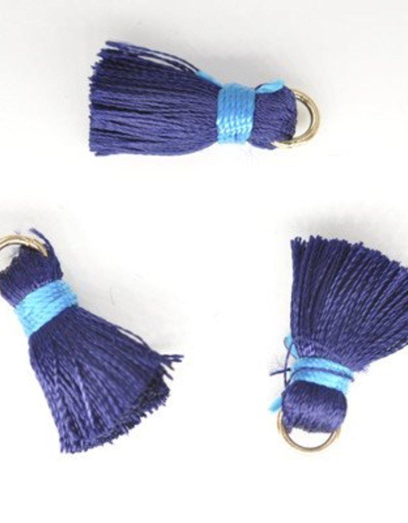 10 PC 20mm Dark Blue/Turquoise Tassel