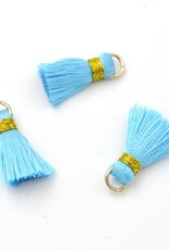 10 PC 20mm Turquoise/Gold Tassel