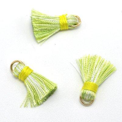 10 PC 20mm Green/Yellow Tassel