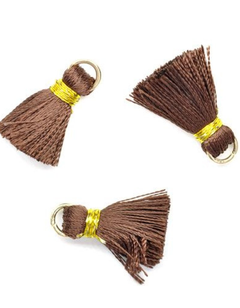 10 PC 20mm Brown/Gold Tassel