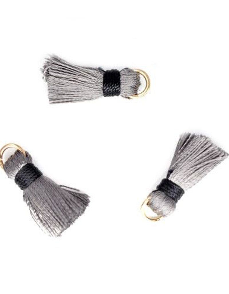 10 PC 20mm Grey/Black Tassel