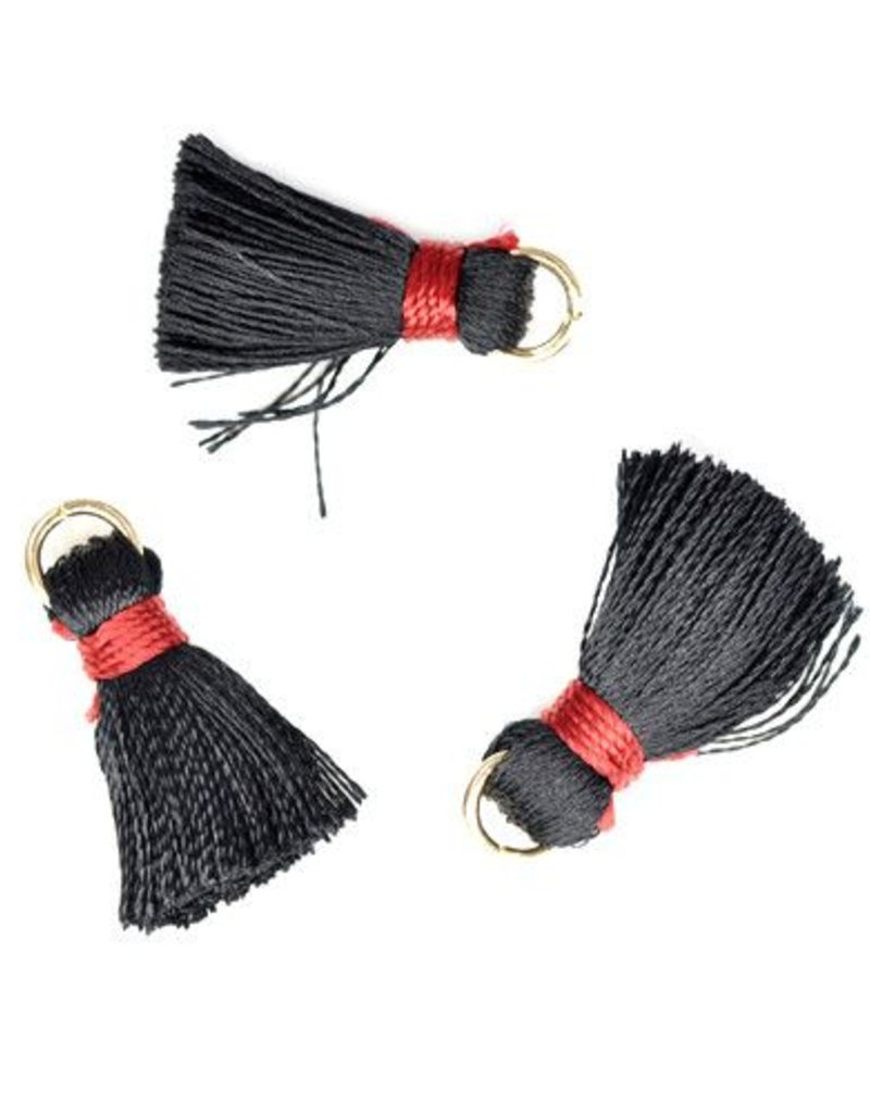 10 PC 20mm Black/Red Tassel