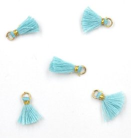 10 PC 10mm Aquamarine/Gold Tassel