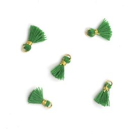 10 PC 10mm Emerald/Gold Tassel