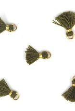 10 PC 10mm Olive/Gold Tassel