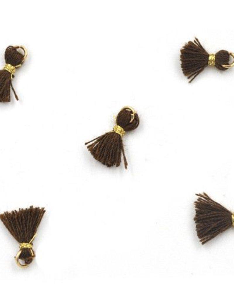 10 PC 10mm Brown/Gold Tassel