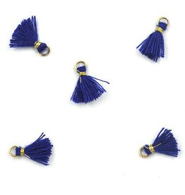 10 PC 10mm Blue/Gold Tassel