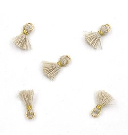10 PC 10mm Ivory/Gold Tassel