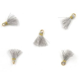 10 PC 10mm Grey/Gold Tassel