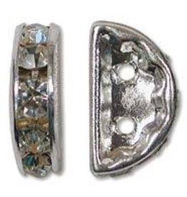 2 PC SP 13x6mm Rhinestone Half Moon : Crystal