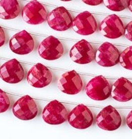 """8.5"""" 14mm Faceted Briolette : Ruby"""
