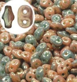 10 GM SuperDuo Duets 2x5mm : Green Turquoise Ivory Red Luster (APX 140 PCS)