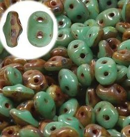 10 GM SuperDuo Duets 2x5mm : Green Turquoise Ivory Dark Travertine (APX 140 PCS)