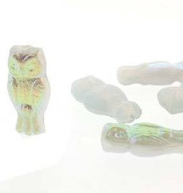 10 PC 15x7mm Owls : Opal Blue Rainbow