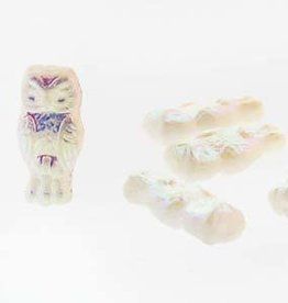 10 PC 15x7mm Owls : White Full AB