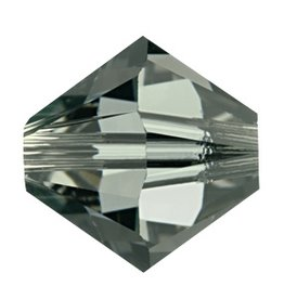 12 PC 6mm Swarovski Bicone (5328) : Black Diamond