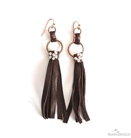 Leather Wire Wrapped Fringe Earrings Kit : Antique Copper