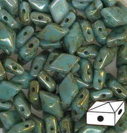 10 GM 5x8mm DiamondDuo™ 2 Hole Bead : Turquoise Lumi Pecan (APX 65 PCS)