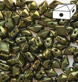 10 GM 5x8mm DiamondDuo™ 2 Hole Bead : Metallic Green (APX 65 PCS)