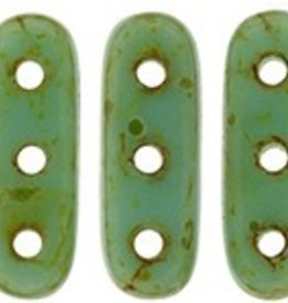 10 GM 3x10mm 3 Hole Beam : Opaque Turquoise Picasso (APX 65 PCS)
