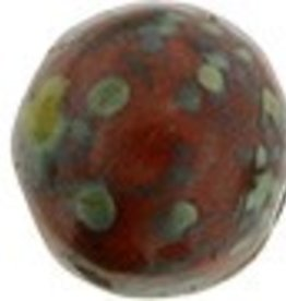 10 GM 7mm Cabochon : Opaque Red Picasso (APX 25 PCS)