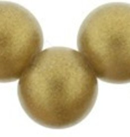 25 PC 6mm Top Hole Round : Sueded Gold Smoky Topaz