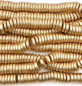 "15x4mm Pucalet Rondell Gold Wood Bead 16"" Strand"
