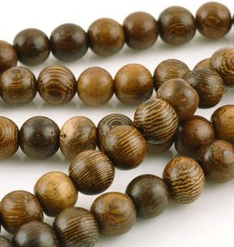 "6mm Round Robles Wood Bead 16"" Strand"