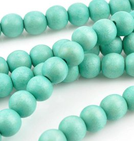 "8mm Round Turquoise Wood Bead 16"" Strand"