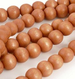 "8mm Round Terra Cotta Wood Bead 16"" Strand"