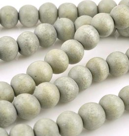 "8mm Round Celadon Wood Bead 16"" Strand"