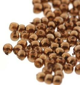 150 PC 2mm Round Glass Pearl : Antique Gold