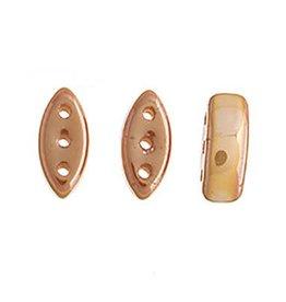 50 PC 2x8mm Cali® 3 Hole Bead : Chalk Medium Apricot