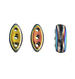 50 PC 2x8mm Cali® 3 Hole Bead : Jet Vitrail