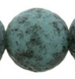 25 PC 8mm Round : Turquoise Black Stone Picasso
