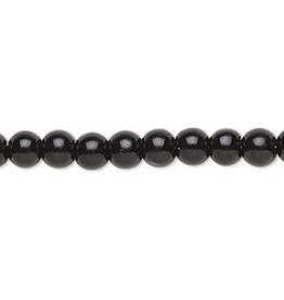 75 PC 6mm Round Glass Pearl : Black